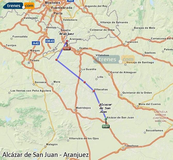 Enlarge map Trains Alcazar de San Juan to Aranjuez