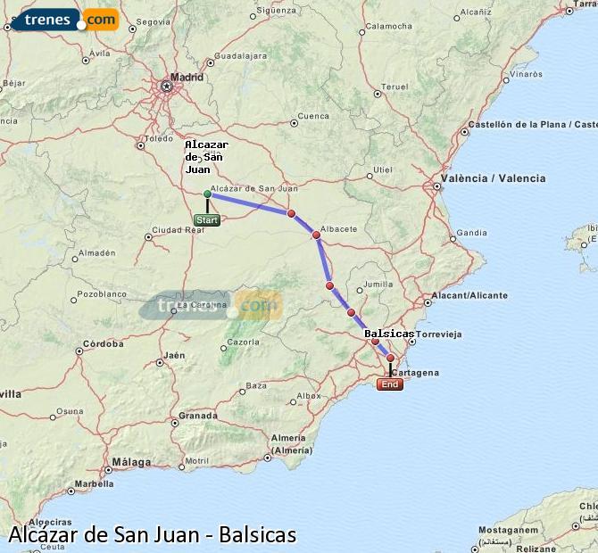 Agrandir la carte Trains Alcázar de San Juan Balsicas
