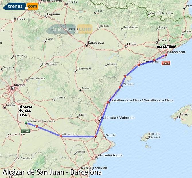 Ampliar mapa Trenes Alcázar de San Juan Barcelona
