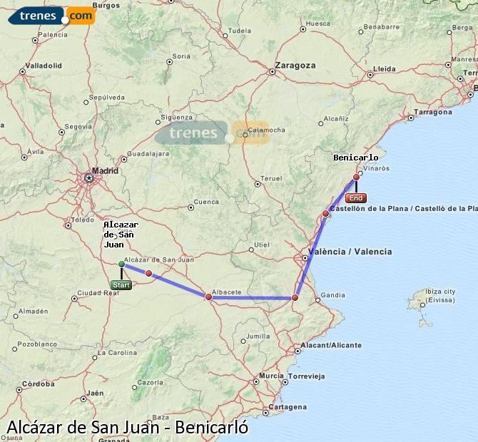 Enlarge map Trains Alcazar de San Juan to Benicarló