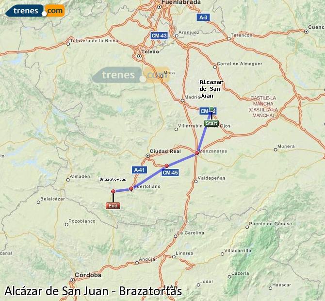 Ampliar mapa Comboios Alcázar de San Juan Brazatortas