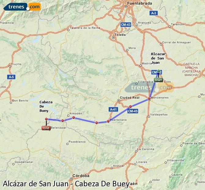Ampliar mapa Trenes Alcázar de San Juan Cabeza De Buey