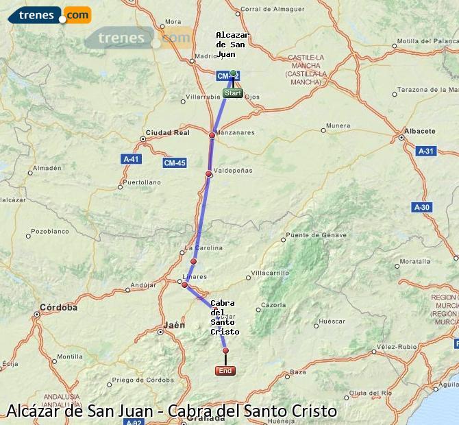Ampliar mapa Trenes Alcázar de San Juan Cabra del Santo Cristo