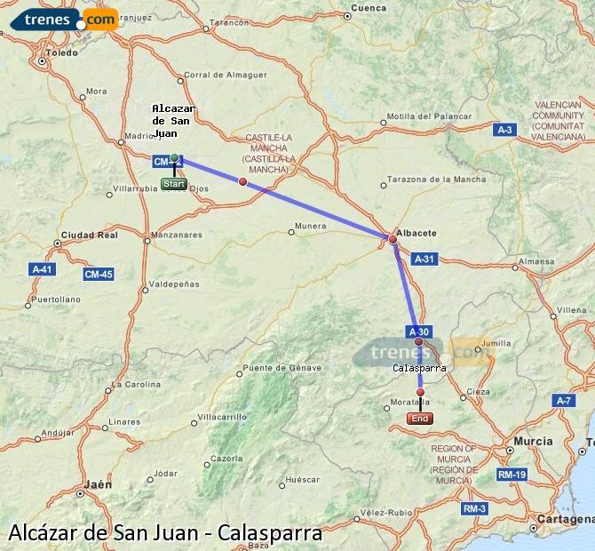 Agrandir la carte Trains Alcázar de San Juan Calasparra