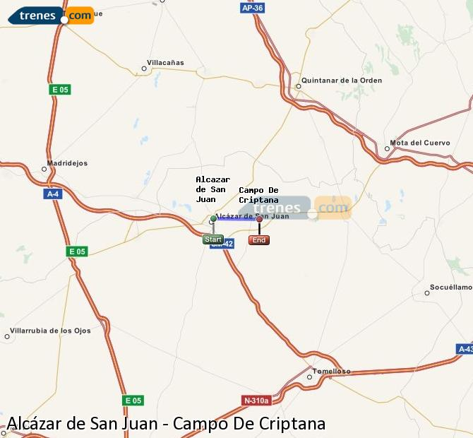 Enlarge map Trains Alcazar de San Juan to Campo De Criptana