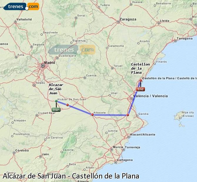 Ampliar mapa Trenes Alcázar de San Juan Castellón