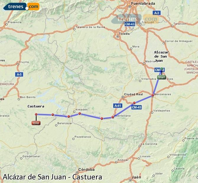 Ampliar mapa Comboios Alcázar de San Juan Castuera