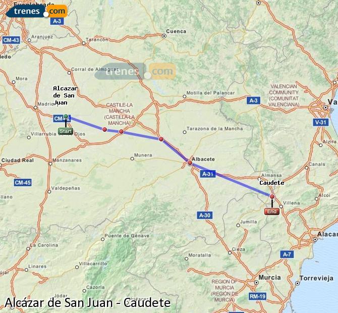 Enlarge map Trains Alcazar de San Juan to Caudete