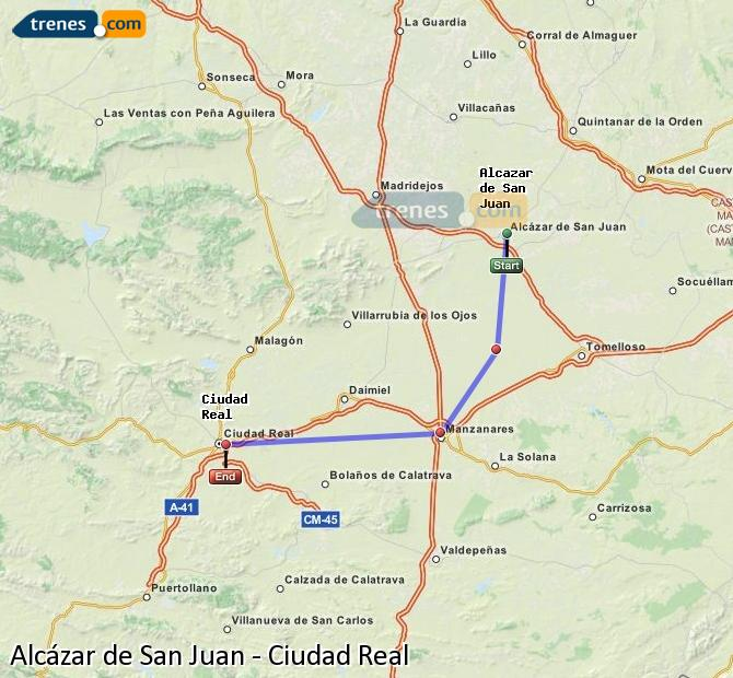Enlarge map Trains Alcazar de San Juan to Ciudad Real