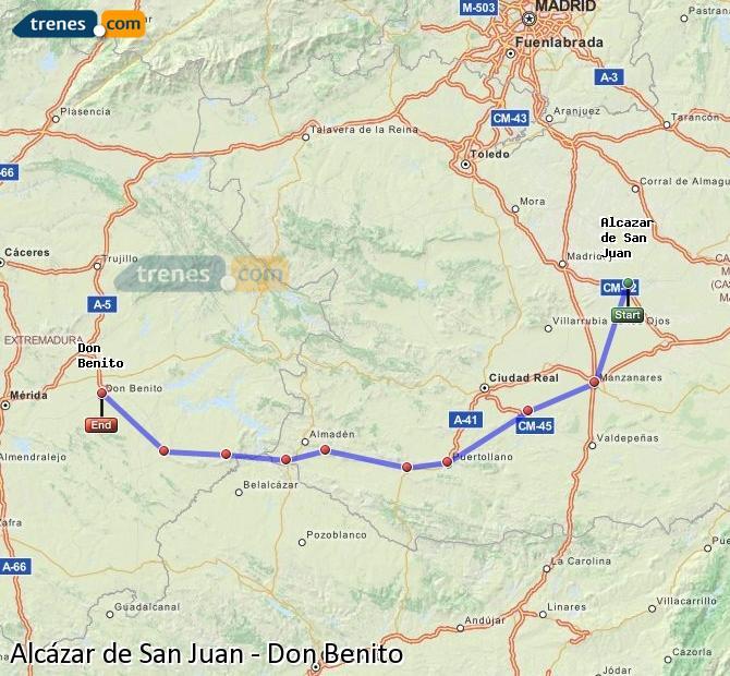 Ingrandisci la mappa Treni Alcázar de San Juan Don Benito