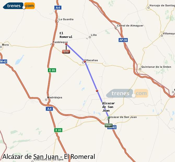 Ampliar mapa Trenes Alcázar de San Juan El Romeral