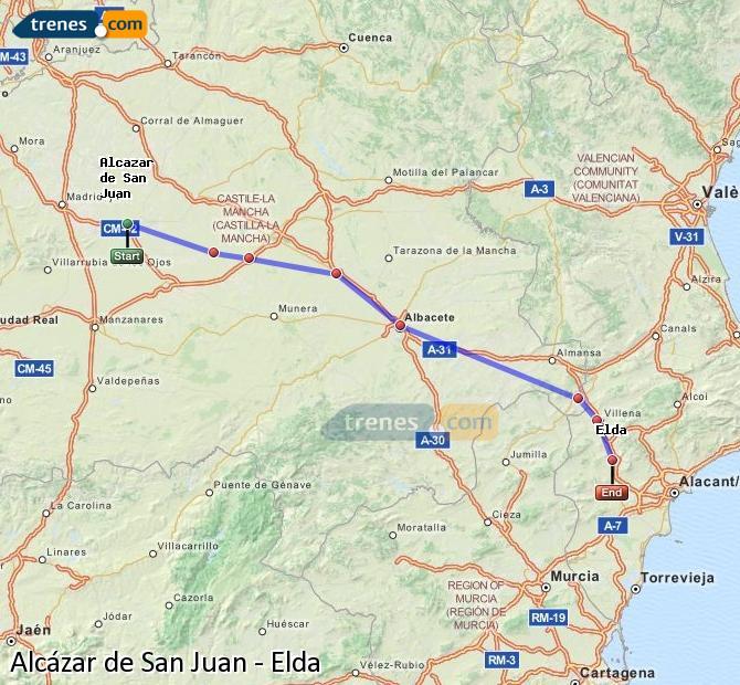 Karte vergrößern Züge Alcázar de San Juan Elda