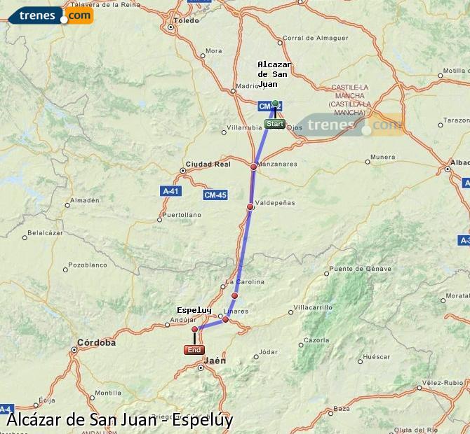 Enlarge map Trains Alcazar de San Juan to Espelúy