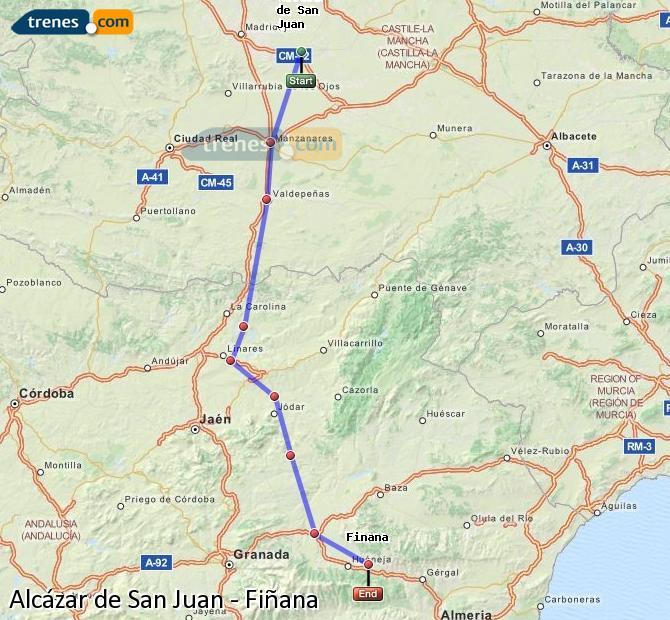 Ampliar mapa Trenes Alcázar de San Juan Fiñana