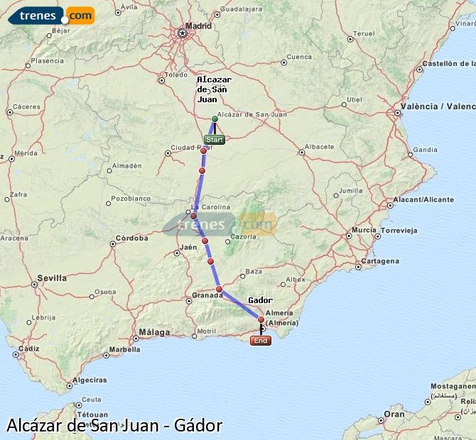 Karte vergrößern Züge Alcázar de San Juan Gádor