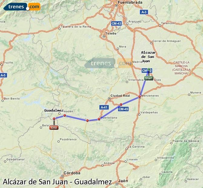 Ampliar mapa Comboios Alcázar de San Juan Guadalmez