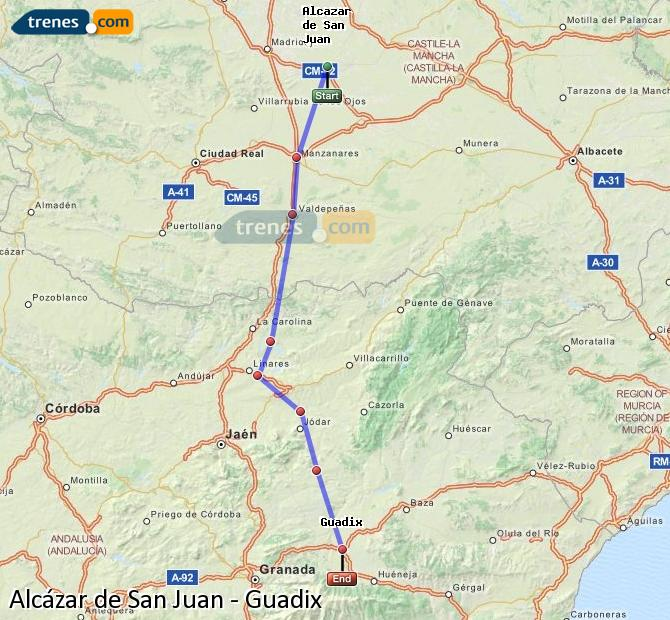 Enlarge map Trains Alcazar de San Juan to Guadix