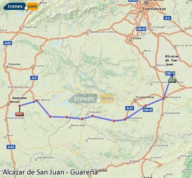 Ampliar mapa Trenes Alcázar de San Juan Guareña