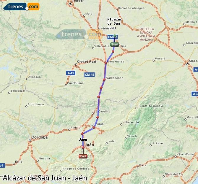 Agrandir la carte Trains Alcázar de San Juan Jaén