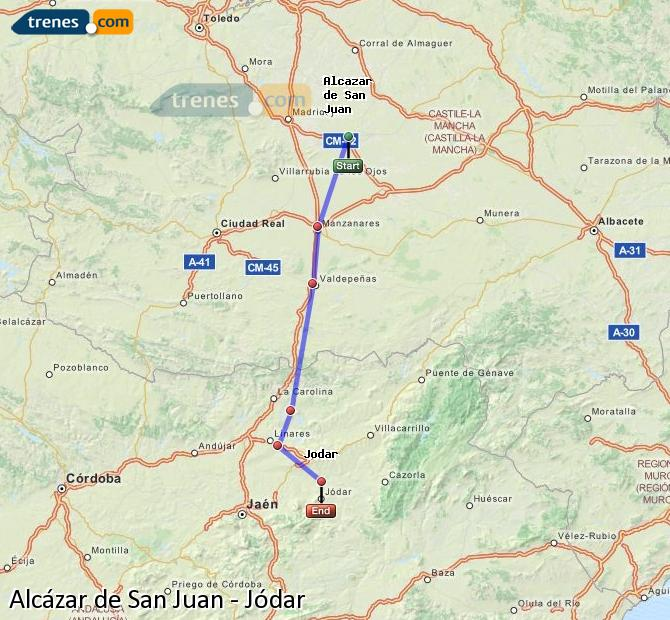 Ampliar mapa Trenes Alcázar de San Juan Jódar