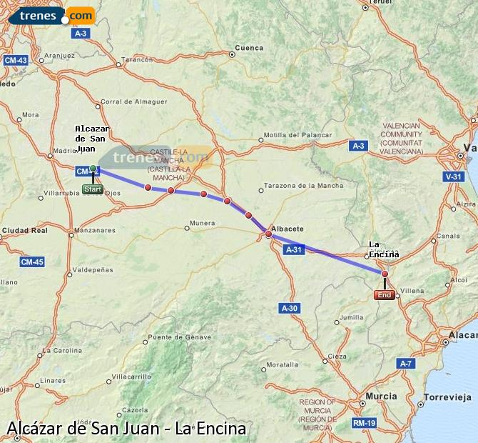 Enlarge map Trains Alcazar de San Juan to La Encina