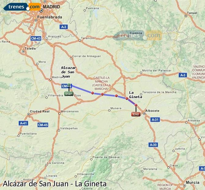Enlarge map Trains Alcazar de San Juan to La Gineta