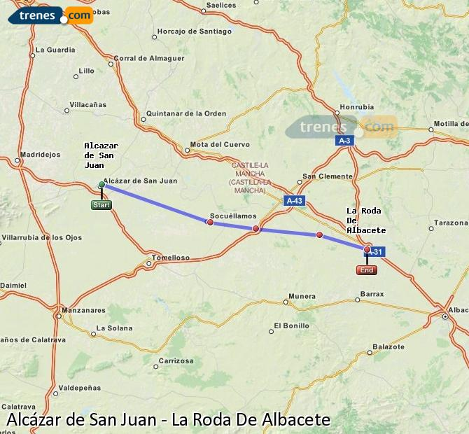 Ampliar mapa Trenes Alcázar de San Juan La Roda De Albacete
