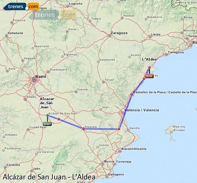 Enlarge map Trains Alcazar de San Juan to L'Aldea