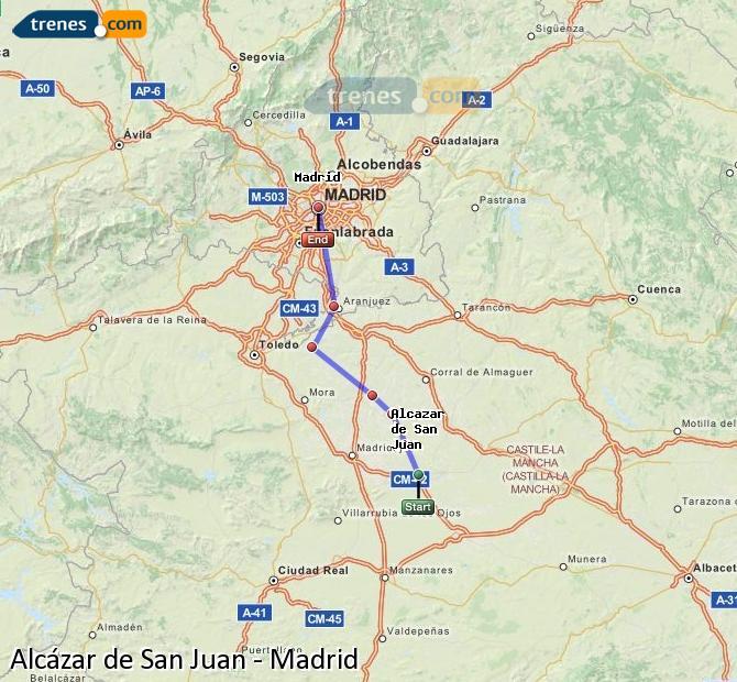 Enlarge map Trains Alcazar de San Juan to Madrid