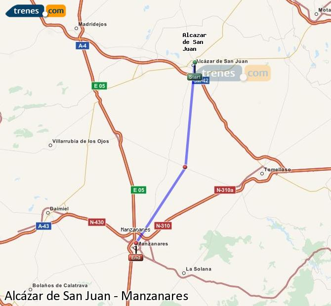 Enlarge map Trains Alcazar de San Juan to Manzanares