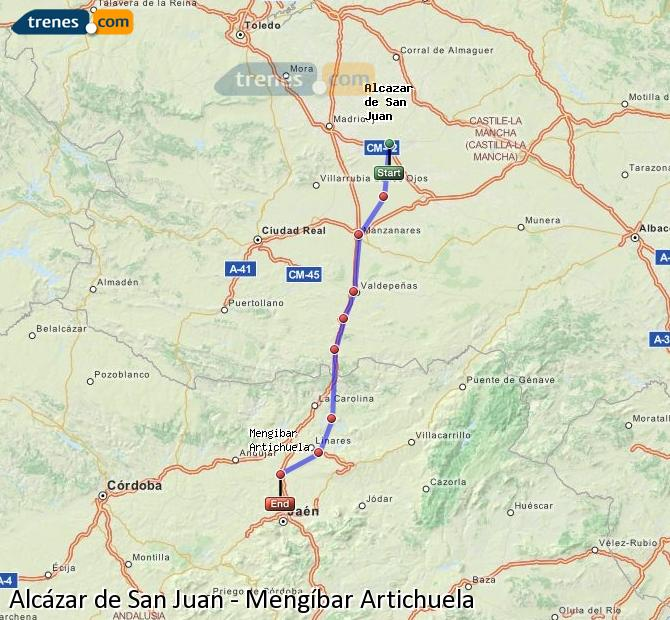 Enlarge map Trains Alcazar de San Juan to Mengíbar Artichuela