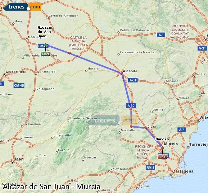 Ampliar mapa Trenes Alcázar de San Juan Murcia