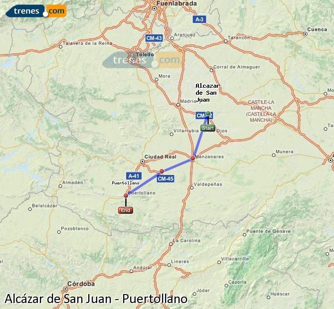 Ampliar mapa Comboios Alcázar de San Juan Puertollano