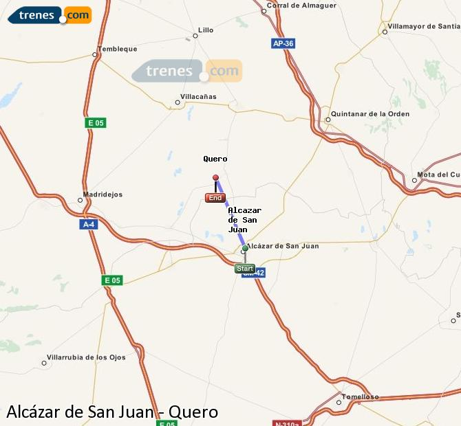 Enlarge map Trains Alcazar de San Juan to Quero