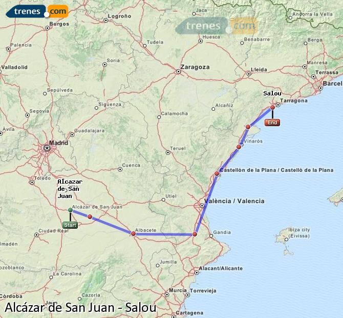 Ingrandisci la mappa Treni Alcázar de San Juan Salou