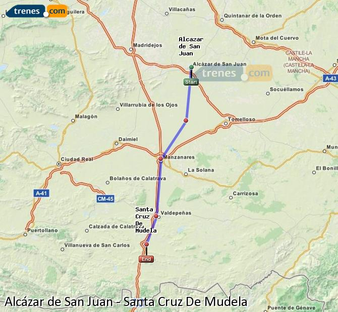 Enlarge map Trains Alcazar de San Juan to Santa Cruz De Mudela
