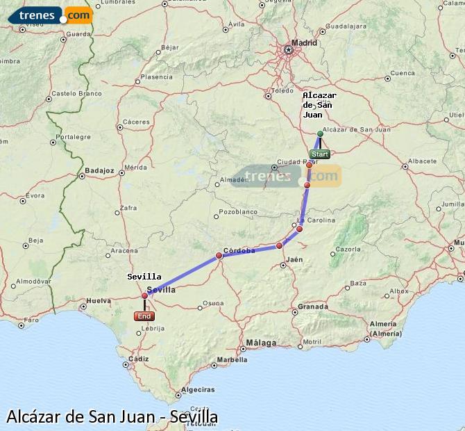 Ingrandisci la mappa Treni Alcázar de San Juan Sevilla