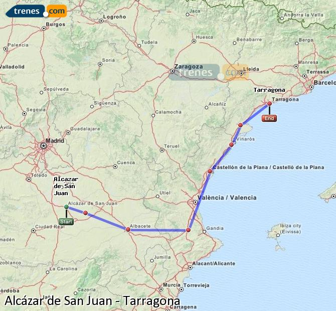 Enlarge map Trains Alcazar de San Juan to Tarragona
