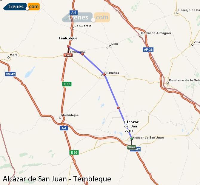 Ampliar mapa Trenes Alcázar de San Juan Tembleque
