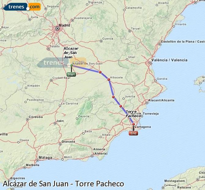 Agrandir la carte Trains Alcázar de San Juan Torre Pacheco