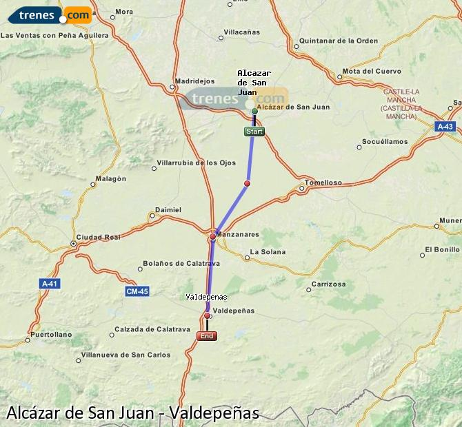 Enlarge map Trains Alcazar de San Juan to Valdepeñas