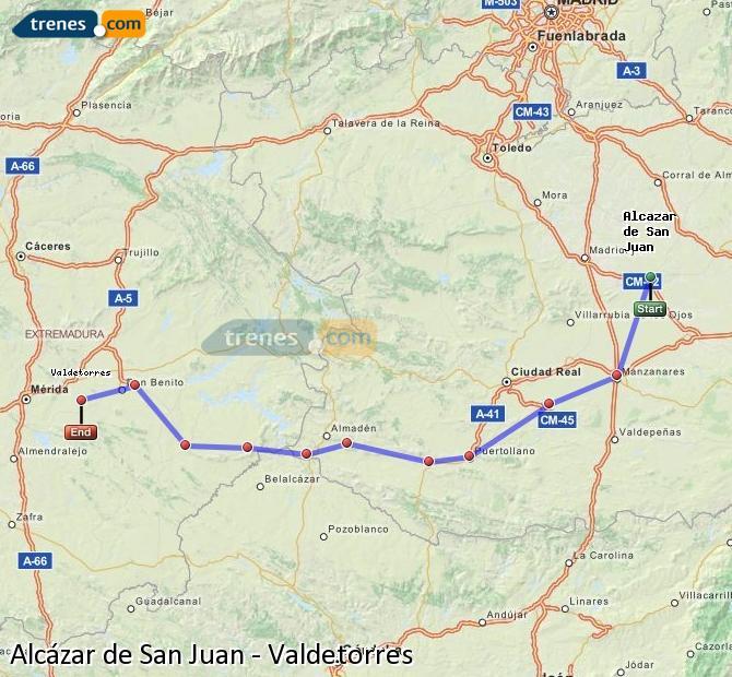 Ampliar mapa Trenes Alcázar de San Juan Valdetorres