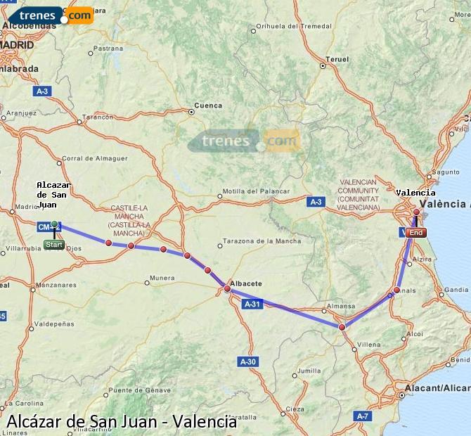 Ampliar mapa Trenes Alcázar de San Juan Valencia
