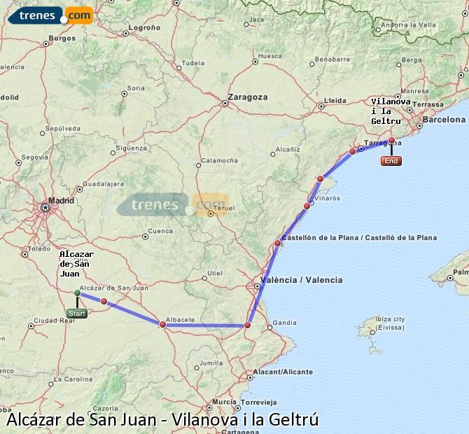 Ampliar mapa Trenes Alcázar de San Juan Vilanova i la Geltrú