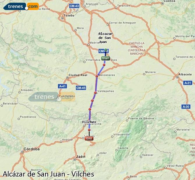 Enlarge map Trains Alcazar de San Juan to Vilches