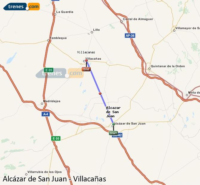 Enlarge map Trains Alcazar de San Juan to Villacañas