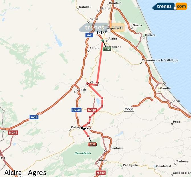 Enlarge map Trains Alcira to Agres