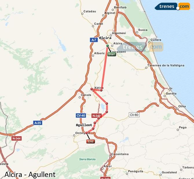 Enlarge map Trains Alcira to Agullent