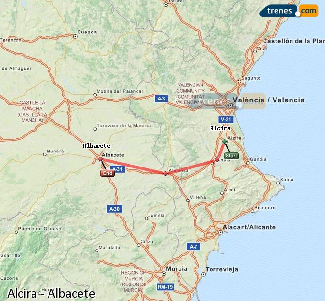 Enlarge map Trains Alcira to Albacete