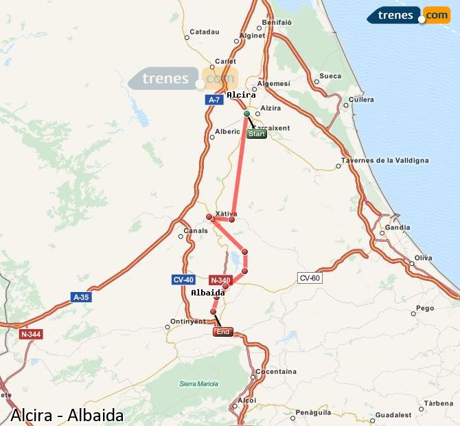 Enlarge map Trains Alcira to Albaida